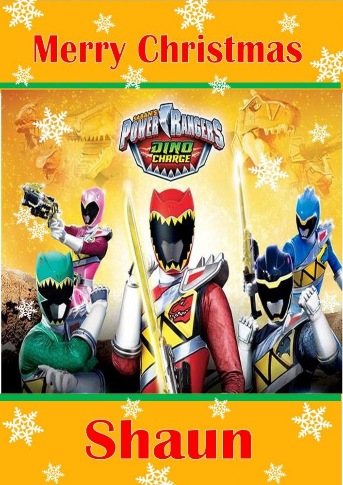 personalised power rangers dino charge christmas card